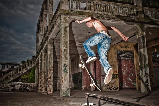 Casco Viejo, Panma City -- Local skateboarders, including Jason, have turned the swimming pool deck of an abandoned Casco Viejo mansion into a skatepark.